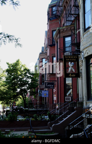Newbury Street  Back Bay area of Boston, Massachusetts - Stock Photo