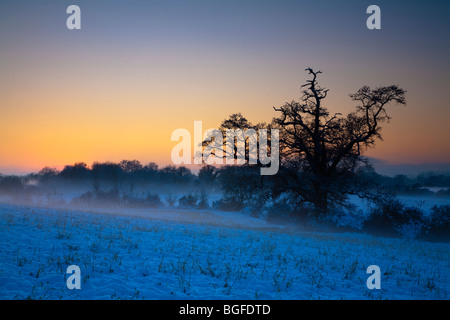Winter sunset over the River Kennet Valley at Ufton in Berkshire, Uk - Stock Photo