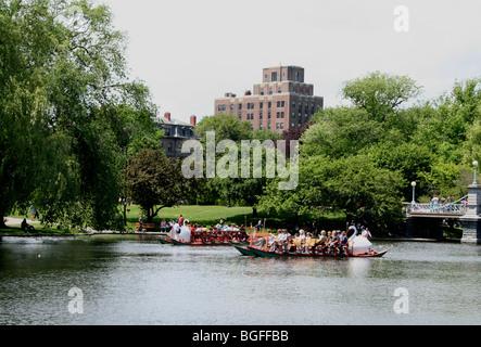 Boston Public Garden, swan boats,Massachusetts - Stock Photo