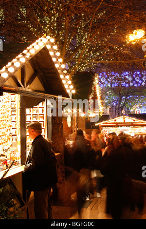 The German Market in Bimingham City Centre at Christmas. New Street. - Stock Photo