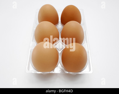 Six farm fresh brown chicken eggs in a plastic carton - Stock Photo