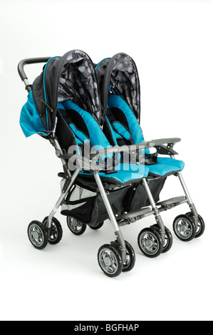 A blue twin double baby stroller carriage - Stock Photo
