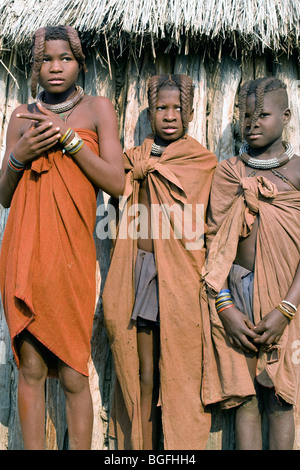 Young girls of the Himba tribe, northern Namibia - Stock Photo