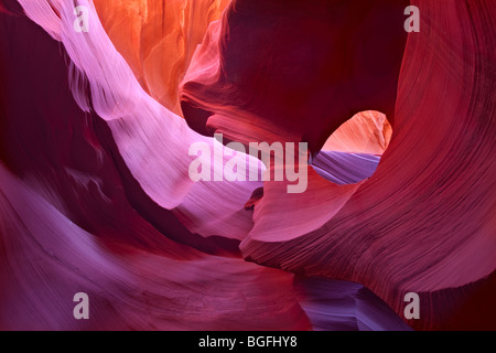 lower antelope slot canyon hole in the rock formation in page arizona - Stock Photo