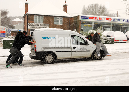 Driving in Snow 2010. - Stock Photo