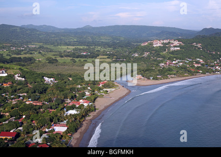 Overview of the town and beach. San Juan Del Sur, Rivas, Nicaragua, Central America - Stock Photo