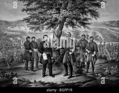The surrender of General Lee and his entire Army to Lieutenant General Grant April 9th 1865 during the USA Civil - Stock Photo