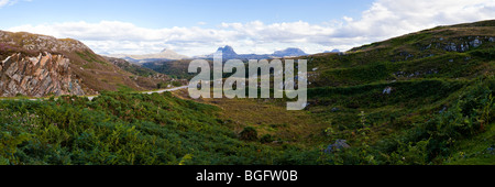 A panoramic view looking southeast from Clashnessie, Highland, Scotland towards Canisp, Suilven and Cal Mor - Stock Photo