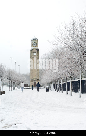 Snow in Stanley Park,Blackpool - Stock Photo
