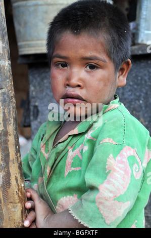 Tarahumara Children on a Colourful Shirt - Stock Photo