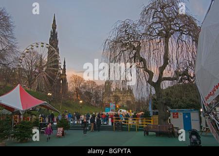 Edinburgh, sunset, ice rink, Princes Street Gardens, Scotland, November, 2009