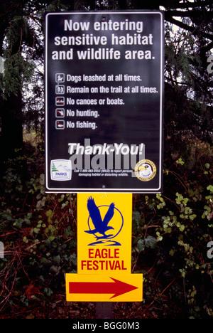 Warning Sign / Signs - Entering Sensitive Habitat & Wildlife Area - Public Notice - Stock Photo