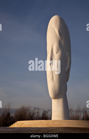 The Dream, by Jaume Plensa, on the site of the former Sutton Manor Colliery,St Helens, Lancashire, UK - Stock Photo
