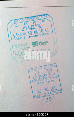 eu irish passport stamped with entry and exit visas for japan immigration haneda and narita airports - Stock Photo