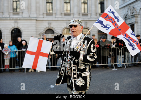 Pearly King at the New Year Parade 2010, London, England - Stock Photo