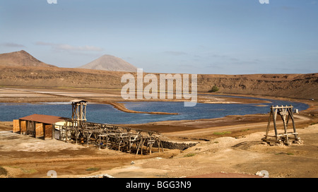 The disused salt production works in the crater of Pedra da Lume on the Cape Verde island of Sal - Stock Photo
