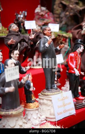 presepe nativity figure of President Obama on sale in Naples - Stock Photo