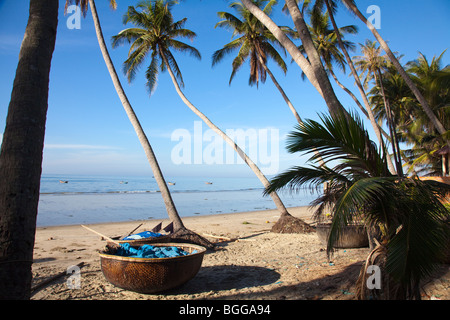 Traditional vietnamese conical fishing boat and palm trees Mui Ne - Stock Photo