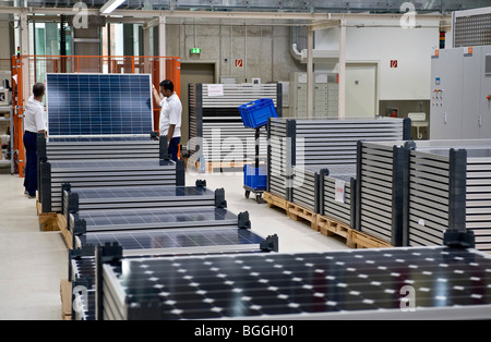 Production of solar modules at SOLON SE, Berlin-Adlershof, Germany, Europe - Stock Photo