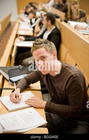 Student studying at Viadrina European University, Frankfurt/Oder, Brandenburg, Germany, Europe - Stock Photo