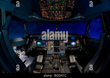 Flight Simulation Center Berlin, ZFB, cockpit of an Airbus A330/340 flight simulator, Berlin, Germany, Europe - Stock Photo