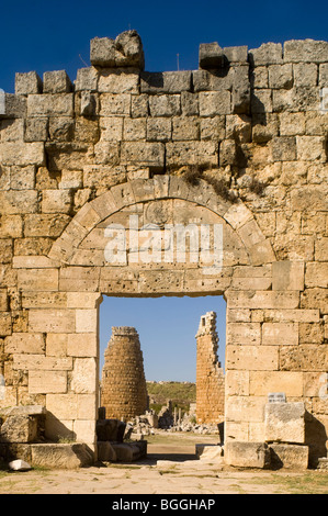 View through a gate at the ruins of Perge, Turkey - Stock Photo