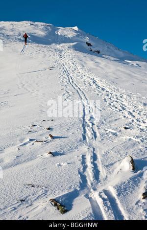 Ski Touring on Raise in the Lake District. Lake District Ski Club - Stock Photo