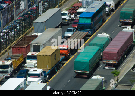 Busy early morning rush hour traffic near the port in Buenos Aires, Argentina Stock Photo
