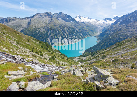 View on a reservoir and the Zillertal Alps, Tyrol, Austria, high angle view - Stock Photo