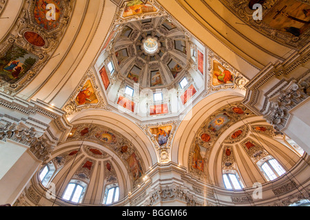 Cupola of Salzburg Cathedral, Salzburg, Austria, worm's-eye view, - Stock Photo