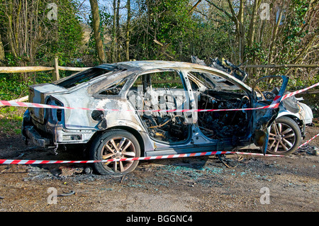 Stolen car torched - Stock Photo