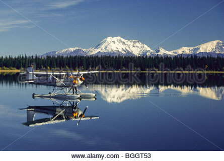 Fly in fishing float plane and canoe fisherman casting for Elias v fishing