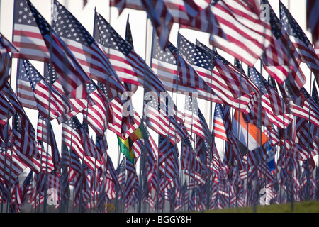 3000 Flags, September 11, 2009, Malibu CA - Stock Photo