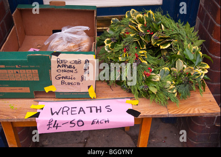 Christmas holly wreaths on sale at Bridgnorth market, Shropshire ...