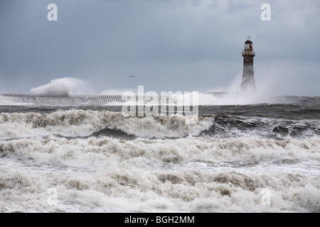 Stormy weather at Roker in winter, Sunderland - Stock Photo