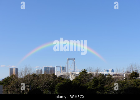 Rainbow Bridge from Odaiba Seaside Park Station, Odaiba, Minato-ku, Tokyo, Japan - Stock Photo