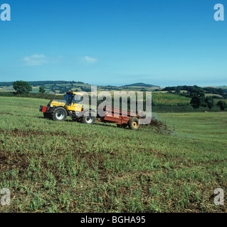 Fastrac tractor spreading manure from a dairy herd onto an uncultivated coastal field, Devon - Stock Photo