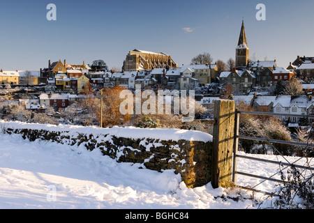 Malmesbury under snow. - Stock Photo