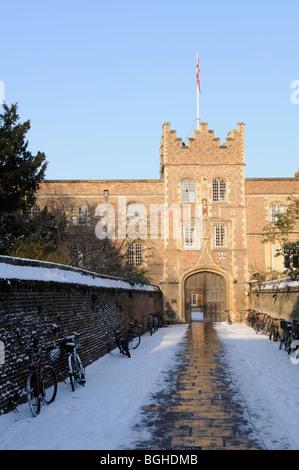 England; Cambridge; Jesus College Gatehouse in Winter - Stock Photo