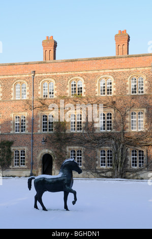 England; Cambridge; Jesus College in Winter - Stock Photo