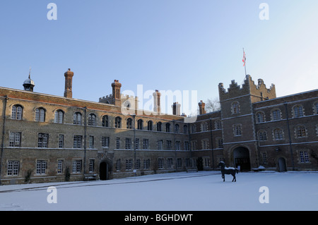England; Cambridge; Jesus College in Winter - Stock Photo