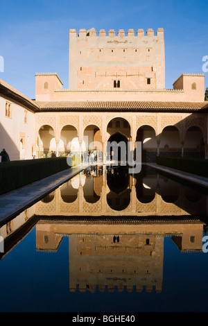 The Alhambra Palace, Granada, Andalucia, Spain. El Patio de los Arrayanes, or Court of the Myrtles - Stock Photo