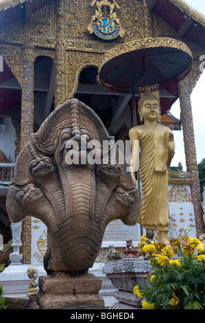 Garden ornaments of the Wat Bupparam, Chiang Mai, Thailand - Stock Photo