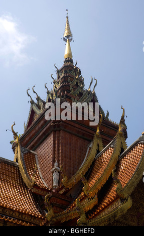 Roof detail of the Wat Bupparam, Chiang Mai, Thailand - Stock Photo