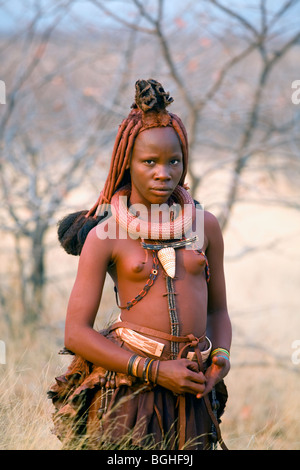 Young girl of the Himba tribe, Opuwo, Namibia - Stock Photo