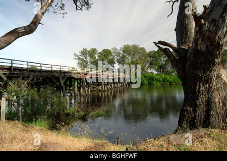 Chinaman's Bridge over the Goulburn River near Nagambie, Central Victoria, Australia. - Stock Photo