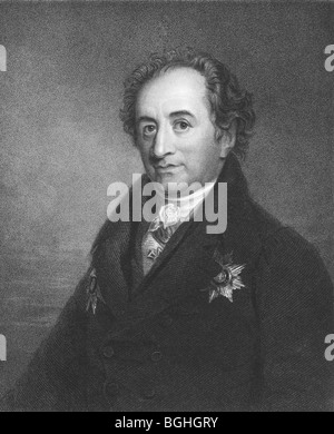 Johann Wolfgang von Goethe on engraving from the 1850s. German writer and polymath. - Stock Photo