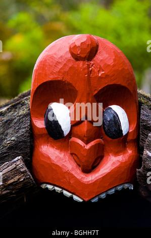 Maori Carvings, Whakarewarewa Thermal Reserve, North Island, New Zealand - Stock Photo