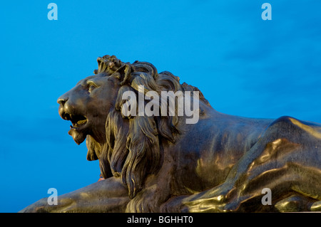 Sculpture of lion, night view. Oriente Square. Madrid. Spain. - Stock Photo