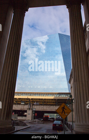 30th Street Station and the Cira Centre in Philadelphia Pennsylvania - Stock Photo